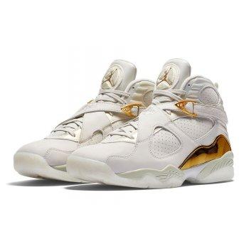 Chaussures Baskets montantes Nike Air Jordan 8 Confetti Champagne Light Bone/Metallic Gold–White