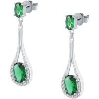 Montres & Bijoux Femme Boucles d'oreilles Cleor Boucles d'oreilles  en Argent 925/1000 et Oxyde Vert Blanc