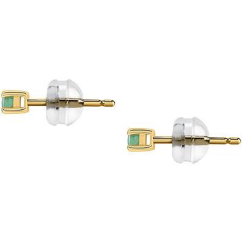 Montres & Bijoux Femme Boucles d'oreilles Cleor Boucles d'oreilles  en Or 375/1000 Jaune et Emeraude Vert Jaune