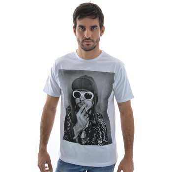 Vêtements Homme T-shirts manches courtes Spital Fields London tee shirt  kurt smoke coton blanc blanc