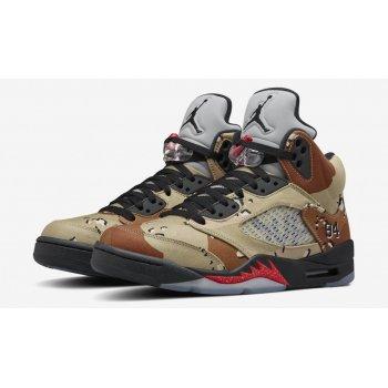 Chaussures Baskets montantes Nike Air Jordan 5 x Supreme Desert Camo Bamboo/Black-Classic Stone