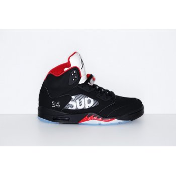 Chaussures Baskets montantes Nike Air Jordan 5 x Supreme Black Fire Red Black Fire Red