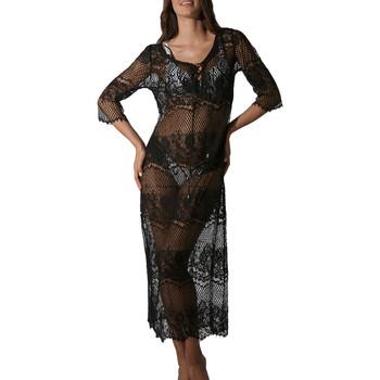 Vêtements Femme Paréos Luna Robe de plage longue dentelle transparente Malibu noir Noir