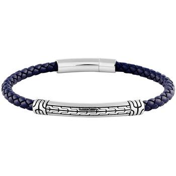 Montres & Bijoux Homme Bracelets Les Haubans Bracelet  en Acier et Cuir Bleu Bleu