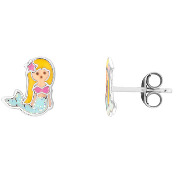 Montres & Bijoux Fille Boucles d'oreilles Cleor Puces  en Argent 925/1000 et Laque Multicolore Blanc