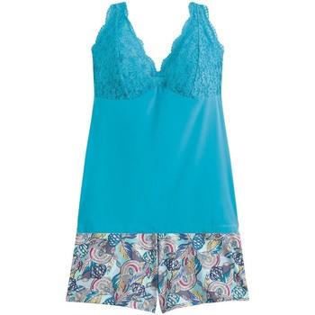 Vêtements Femme Pyjamas / Chemises de nuit Pommpoire Top-short turquoise Eldorado Bleu