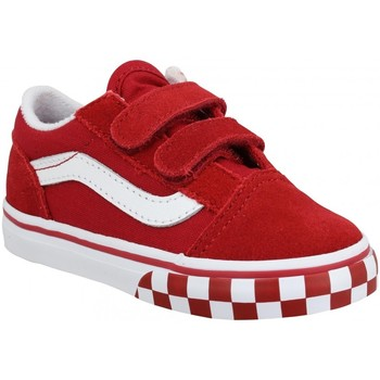 Chaussures Enfant Baskets basses Vans Old Skool V velours toile Enfant Chili Pepper Rouge