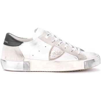 Chaussures Femme Baskets basses Philippe Model Baskets Paris X en cuir et daim blanc avec spoiler noir Blanc
