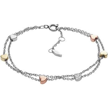 Montres & Bijoux Femme Bracelets Fossil Bracelet double  coeur en acier tricolore Multicolore