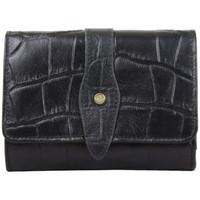 Sacs Femme Portefeuilles Arthur & Aston Porte monnaie M  déco croco Cuir noir Multicolor
