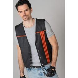 Vêtements Homme Vestes en cuir / synthétiques Last Rebels ROAD 66 NOIR ORANGE Noir