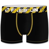 Sous-vêtements Homme Boxers Freegun Boxer Homme Coton bio BCBASS2 Noir Jaune Noir