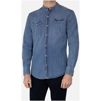 Vêtements Homme Chemises manches longues Kebello Chemise col mao en jeans slim fit Taille : H Bleu M Bleu