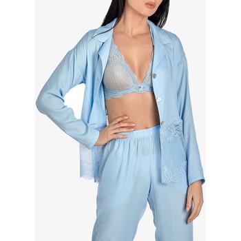 Vêtements Femme Pyjamas / Chemises de nuit Ajour Haut pyjama manches longues Forget-Me-Not bleu ciel Bleu Ciel