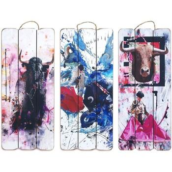 Maison & Déco Tableaux, toiles Signes Grimalt Mur Ensemble Ornement De 3U Toros Sigris Multicolor