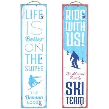 Maison & Déco Tableaux, toiles Signes Grimalt Plaque Murale Ski Set 2 U Azul