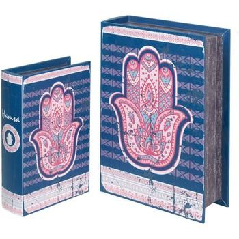 Maison & Déco Malles, coffres de rangements Signes Grimalt Ensemble De 2 Boîtiers Livre Fatima Main De 2U Azul