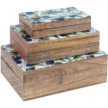 Maison & Déco Malles, coffres de rangements Signes Grimalt Senses & Shoes Rectangulaires Olives Réglé 3U Marrón