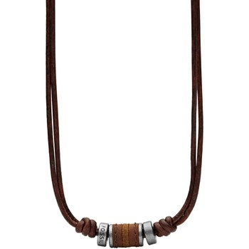 Montres & Bijoux Femme Colliers / Sautoirs Fossil Collier homme  cuir marron et perles acier Blanc