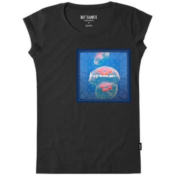 Vêtements Femme T-shirts manches courtes Ko Samui Tailors Bandana T-Shirt Nero Noir