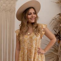 Vêtements Femme Robes courtes Céleste DAHLIA Jaune / Blanc