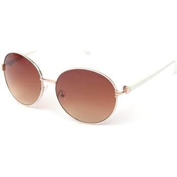 Montres & Bijoux Lunettes de soleil Eye Wear Lunettes Soleil Yoko monture Blanche Verres Fumée Doré Blanc