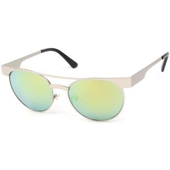 Montres & Bijoux Lunettes de soleil Eye Wear Lunettes Soleil Friends monture Argent verres reflets verts Vert