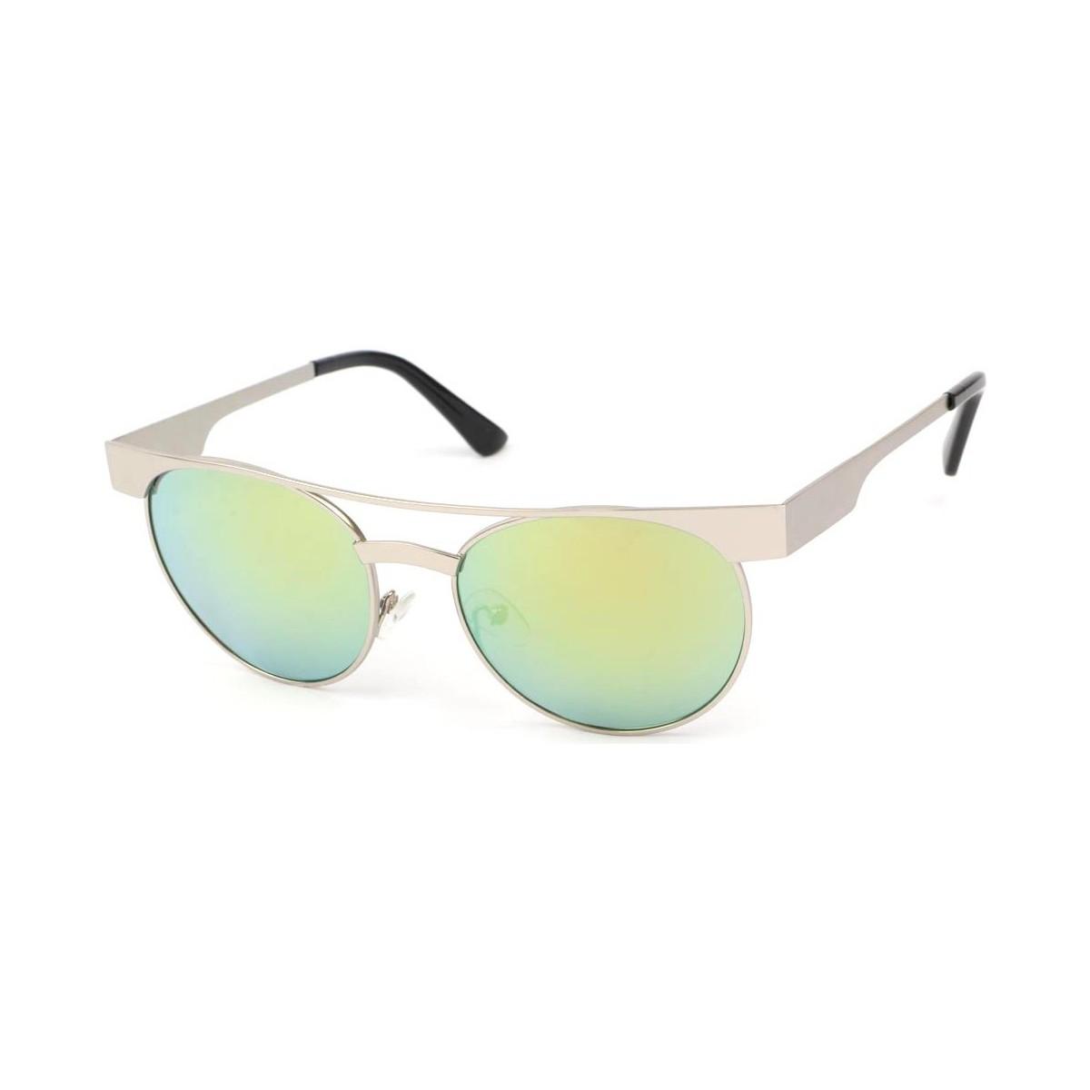Eye Wear Lunettes Soleil Friends monture Argent verres reflets verts Vert