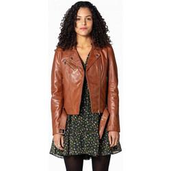 Vêtements Femme Vestes en cuir / synthétiques Rose Garden LAURIE LAMB CASTEL DARK COGNAC Cognac