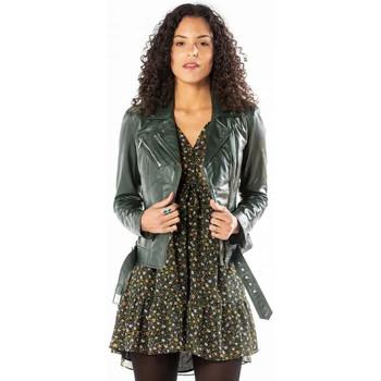 Vêtements Femme Vestes en cuir / synthétiques Rose Garden LAURIE LAMB CASTEL DARK GREEN Vert