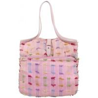 Sacs Femme Cabas / Sacs shopping Patrick Blanc Sac épaule  Toile Rose multicolore effilochée Multicolor