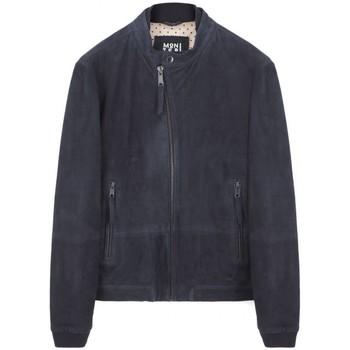 Vêtements Homme Blousons Montereggi Veste en cuir Madras bleu Bleu