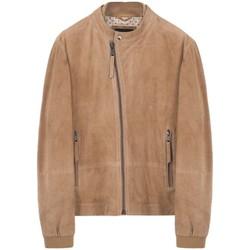 Vêtements Homme Blousons Montereggi Veste en cuir Madras marron Marron