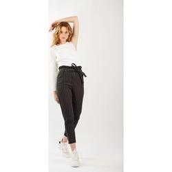Vêtements Femme Jeans bootcut Toxik3 Jean paper bag rayé Noir