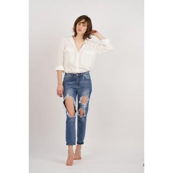 Vêtements Femme Jeans boyfriend Toxik3 Jean déchiré Bleu jean