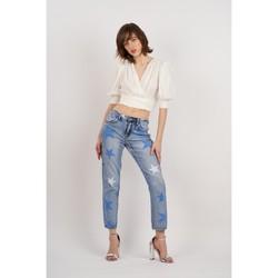Vêtements Femme Jeans bootcut Toxik3 Jean print étoiles Bleu jean clair