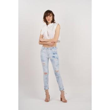 Vêtements Femme Jeans boyfriend Toxik3 Jean tie and dye déchiré Bleu jean clair