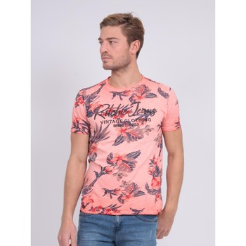 Vêtements Homme T-shirts manches courtes Ritchie T-shirt col rond pur coton motifs NALKO Corail