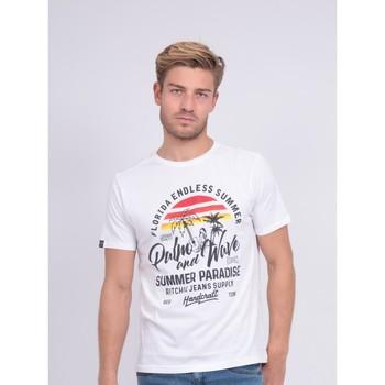 Vêtements Homme T-shirts manches courtes Ritchie T-shirt col rond pur coton NATULOP Blanc