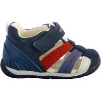 Chaussures Garçon Sandales et Nu-pieds Geox Sandales Cuir  Each Marine/Rouge