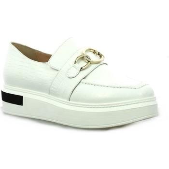 Chaussures Femme Mocassins Benoite C Baskets cuir croco Blanc