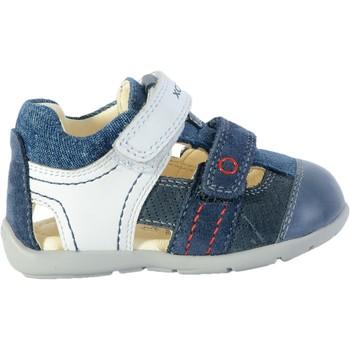Chaussures Enfant Sandales et Nu-pieds Geox Sandale Cuir  Kaytan Bleu Foncé/Blanc