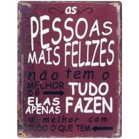 Maison & Déco Tableaux, toiles Signes Grimalt Plaque Murale Pessoas Felizes Rojo