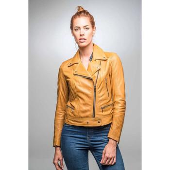 Vêtements Femme Vestes en cuir / synthétiques Rose Garden PANEMA LAMB CASTEL SPICY MUSTARD Jaune