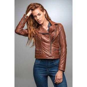 Vêtements Femme Vestes en cuir / synthétiques Rose Garden PANEMA LAMB CASTEL DARK COGNAC Cognac