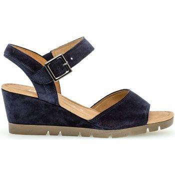 Chaussures Femme Sandales et Nu-pieds Gabor Sandales compensées suede talon  recouvert Bleu
