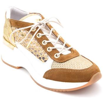 Chaussures Femme Baskets basses Rose Metal joux Doré
