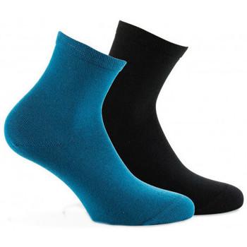 Accessoires Femme Chaussettes Kindy Lot de 2 paires de socquettes en fil recyclé Made in France Bleu noir