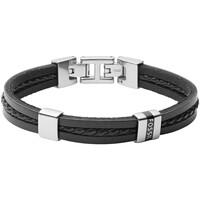 Montres & Bijoux Homme Bracelets Fossil Bracelet  Leather Essential Black Noir