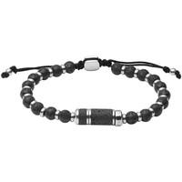 Montres & Bijoux Homme Bracelets Fossil Bracelet  Caravan perles pierre de lave noire Blanc